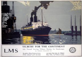 Tilbury for the Continent. Vintage LMS Travel Poster by Norman Wilkinson